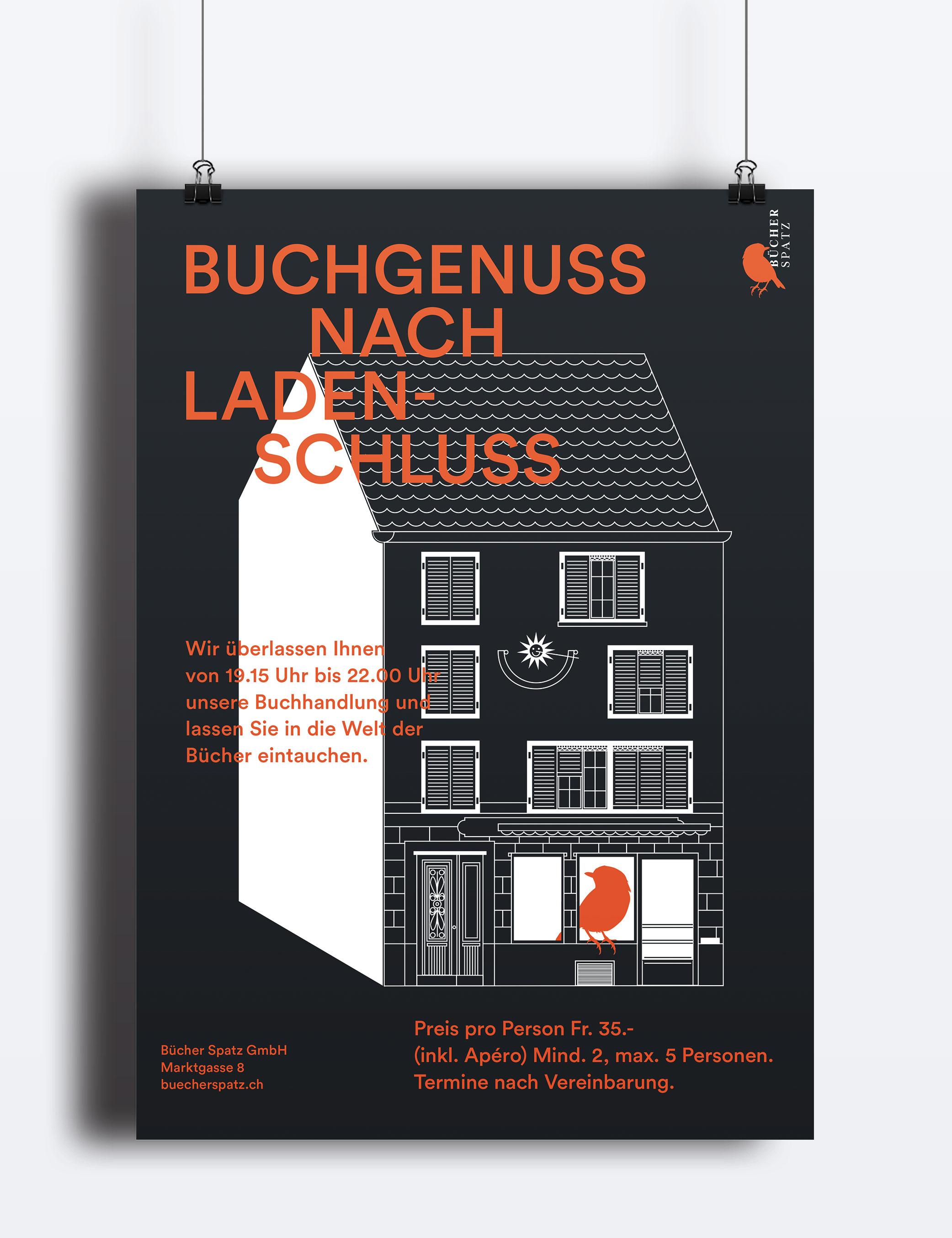 Plakat Buchgenuss nach Ladenschluss