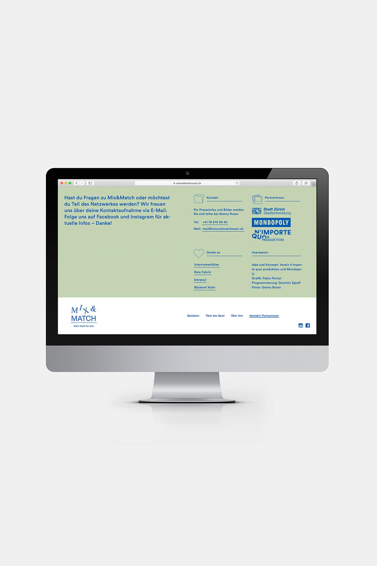 Mix und Match Webseite Desktop